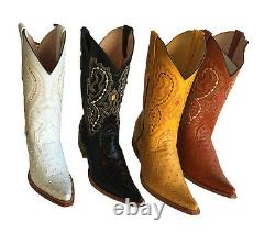Men Genuine Cowhide Leather ostrich Print Cowboy Snip Toe boots Handcrafted