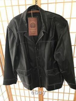 Men's Custom Made Handcrafted Black Leather Field Jacket Oliveo New With Tags XL