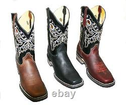 Men's Genuine Cowhide Leather Cowboy Western Square Toe Rodeo Boots Handcrafted