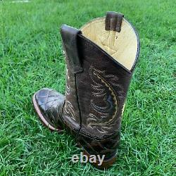 Men's Genuine Cowhide Leather Piraruco Fish Print Square Toe Handcrafted Boots