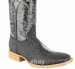 Men's Genuine Cowhide Stingray Print Boots Square Toe Handcrafted Quality Boots