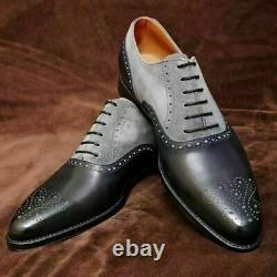 Men's Handmade Shoes Gray Suede Black Leather Brogue Two Tone Formal Dress Shoes