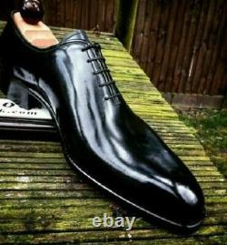 Men's Handmade Shoes Shiny Black Leather Oxford Plain Rounded Burnished Toe Boot
