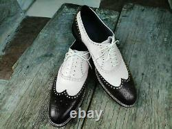 Men's Handmade Shoes Spectator Two Tone Suede Leather Wingtip Brogue Lace Up New