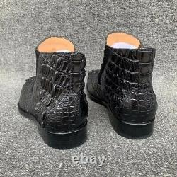 Mens Handcrafted Alligator Crocodile Leather Chelsea Boots Black #SW0901