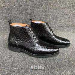 Mens Handcrafted Alligator Crocodile Leather Chelsea Boots Black #SW0902