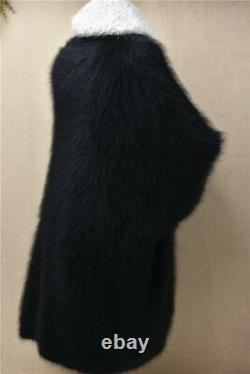 Mohair angora mink black long sleeve knit knitted baggy sweater jumper or dress