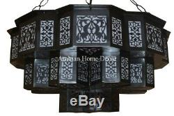 Moroccan Handcrafted Black Oxidize Brass Chandelier Ceiling Light Fixture Lamp