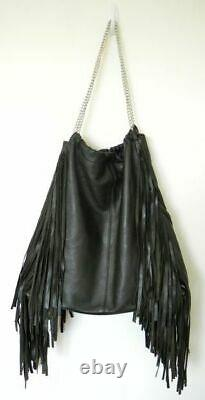 NEW Stunning Handcrafted Black Leather Bag with Fringe