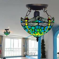 NICE DRAGONFLY TIFFANY STYLE GLASS HANDCRAFTED CEILING LAMP/LIGHT Stained Glass