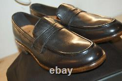 NU Frye Aiden Lug Penny Mens shoes Handcrafted Leather 9.5 M Made In Italy Black