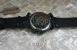 NWT Uno de 50 Handcrafted Black Leather Gold Large Face Watch Retired