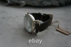 NWT Uno de 50 Handcrafted Leather White Face Llega La Hora Silver Wrist Watch