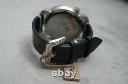 NWT Uno de 50 LLEGO LA HORA Handcrafted Black Leather Silver Large Face Watch