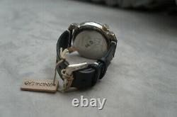 NWT Uno de 50 ME VOY ME VOY Handcrafted Black Leather Silver Large Face Watch