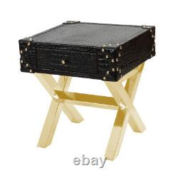 New Arrival Genuine Black Croco Leather Single Drawer Handcrafted Side Table