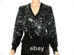 New BLUMARINE 100% CASHMERE Handcrafted Embroidery Black Sweater It. Size 50