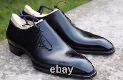 New Handmade Men's Black leather formal Shoes, Men lace up leather dress shoes