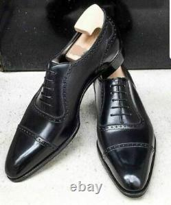New Men's handmade black leather formal lace up dress shoes custom made on order