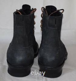 Nick's Black Leather Vibram Work Boots UK8 US8E Handcrafted in USA Leather Laces