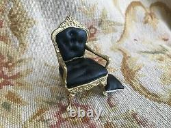 Pat Tyler Dollhouse Miniature Black Leather Chair Seat With Pillow 224