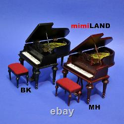Piano + stool for 112 Scale dollhouse miniature wood seat Quality black
