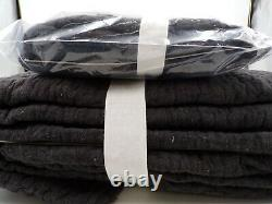 Pottery Barn Cotton Handcrafted Melange King Quilt with 1 King Sham Charcoal 9792U