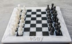 Queens Gambit Handmade Marble Chess Board Handcraft 16 x 16 White And Black