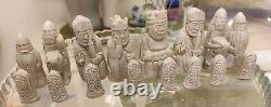 RARE Berseker Rook Large (K=3.5) Ivory and Red or Black, Isle of Lewis Chessmen