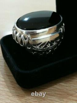 Rare Huge Dark Red Yemeni Aqeeq Hand Crafted 925 Sterling Silver Ring