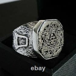 Seal of Solomon Ring Black Onyx Sterling Silver Unique Handmade Talisman Solid