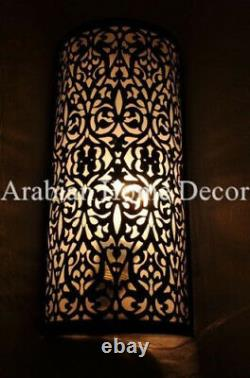 Set of 2 Handcrafted Moroccan Black Oxidize Brass Wall Lamp Sconce