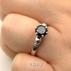 Skull Ring 6 Claw 1ct Black Diamond Unique Hand Crafted Engagement Ring Silver