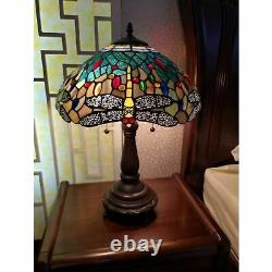 Stained Glass Tiffany Style Dragonfly Table Lamp Handcrafted in Antique Accent