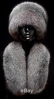 Superior Black Frost Fur Fur Handcrafted Set of Beanie Cossack Hat & Stole Scarf