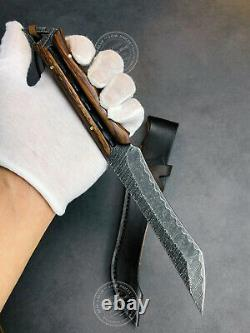 Tactical Damascus Full Tang Hunting Knife Fixed Blade Black Survival Ironwood