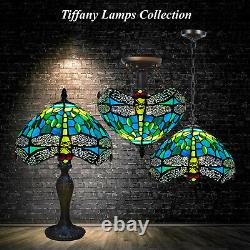 Tiffany Lamps Stained Glass Crystal Bead Green Dragonfly Style Handcrafted Shade