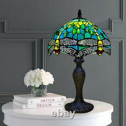 Tiffany Lamps Stained Glass Green Dragonfly Style Crystal Bead Handcrafted Shade