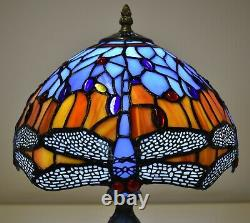 Tiffany Style Dragonfly Design Antique Handcrafted Table Desk Lamp Stained Glass