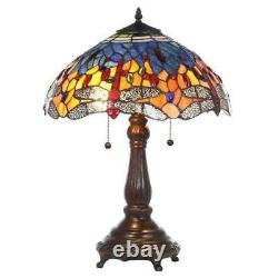Tiffany Style Stained Glass Table Lamp Dragonfly Handcrafted Vintage Light Shade