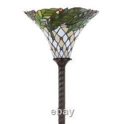 Torchiere Floor Lamp Handcrafted Stained Glass Bell Shade 71 in. Metal Bronze