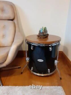 Upcycled Drum Side Table with Hardwood Top