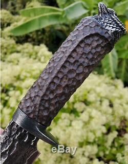 Vg10 Damascus Hunting Knife Fixed Blade Art Knife Rescue Handcrafted Eagle Black