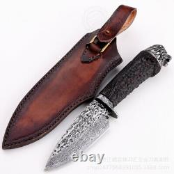 Vg10 Damascus Survival Camping Hunting Knife Fixed Blade Ebony Black Carved Lion
