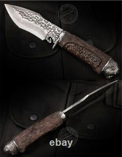 Vg10 Damascus Survival Outdoor Camping Hunting Knife Fixed Blade Ebony Black