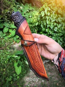 Vg-10 Damascus Fixed Blade Vg10 Hunting Knife Handcrafted Black Hammered Pattern