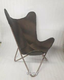 Vintage Hiking Cowhide Leather Classic BKF Butterfly Chair Cover Handmade Rustic