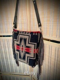 Wool Leather Tote Bag Purse Crossbody Made with Pendleton Wool Fabric