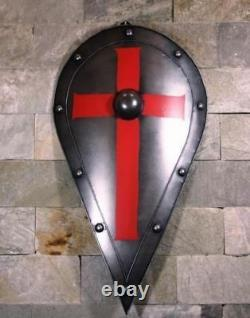 X-Mas Medieval Knight Shield Handcrafted Metal Iron Red Cross